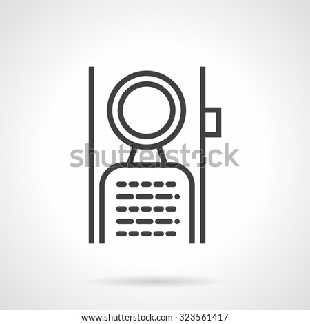 Abstract flat simple line vector icon for label hanging on door handle. Symbols for hotel, do not disturb sign. Web design elements. - stock vector