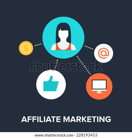 Abstract flat vector illustration of affiliate marketing concept. Elements for mobile and web applications. - stock vector