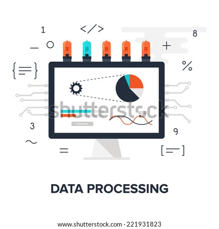 Abstract flat vector illustration of data processing concept isolated on white background. Design elements for web. - stock vector