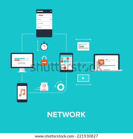 Abstract flat vector illustration of network concept isolated on blue background. Design elements for web. - stock vector