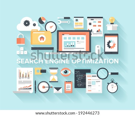Abstract flat vector illustration of search engine optimization, data analysis and storage, cloud computing, and program coding concept with long shadow on blue background. Design elements for web. - stock vector