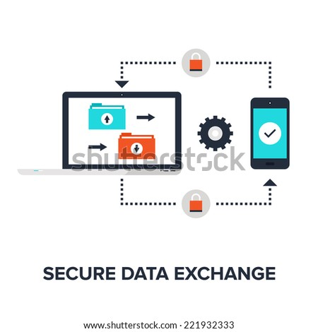 Abstract flat vector illustration of secure data exchange concept isolated on white background. Design elements for web. - stock vector