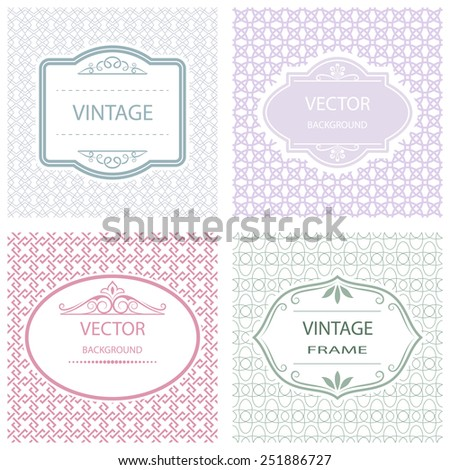 Abstract flat vintage frame vector background. - stock vector