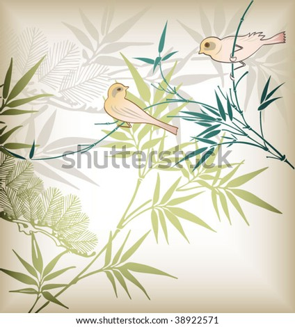 Abstract Floral and Bird 1 - stock vector