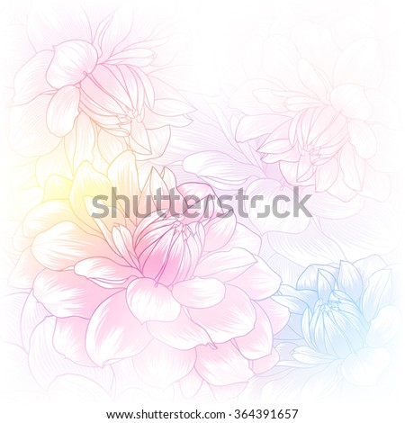 Abstract floral background. Vector flower dahlia. Element for design. - stock vector