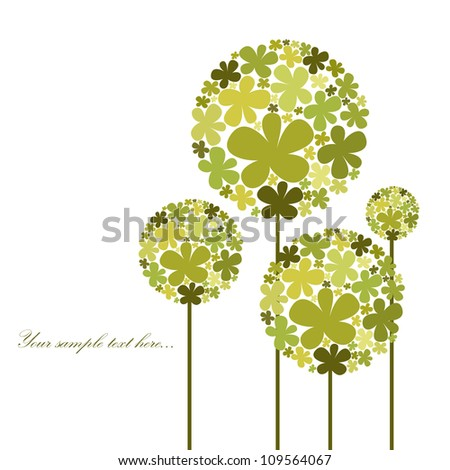 Abstract floral background with green elements - stock vector