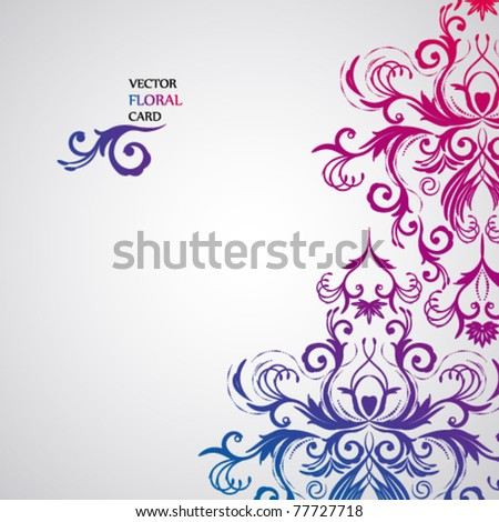 Abstract floral background with oriental flowers. - stock vector