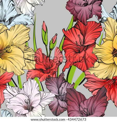 abstract floral blooming gladiolus background texture hand drawn vector illustration sketch - stock vector