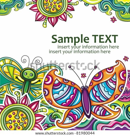 Abstract floral card(series) 17 - stock vector