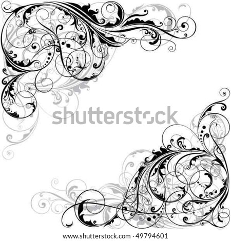 Abstract floral corner design - stock vector