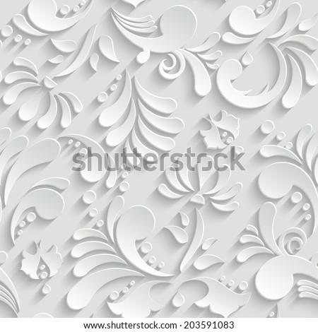 Abstract Floral 3d Background, Vector Seamless Pattern. Trendy Design Template - stock vector
