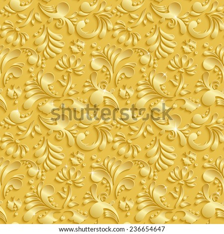 Abstract Floral 3d Golden Background, Vector Seamless Pattern. Trendy Design Template for Christmas and Invitation Cards - stock vector
