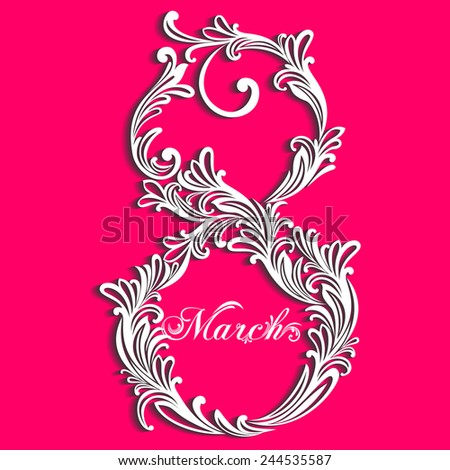 Abstract Floral Greeting card with 8 March. Trendy Design Template.  White and trendy Pink color. Vector Version - stock vector