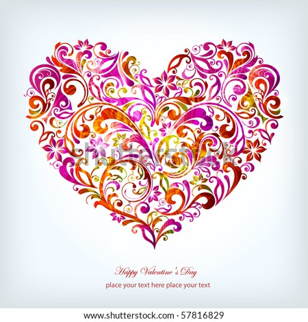 abstract floral heart - stock vector