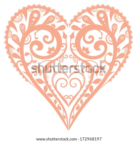 abstract floral heart isolated on white - stock vector