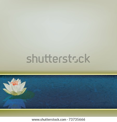 abstract floral illustration with white lotus on blue - stock vector