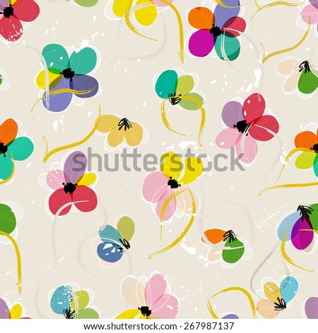 abstract floral pattern background, with strokes and splashes - stock vector