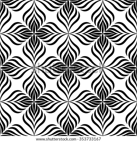 Abstract floral seamless pattern with black and white line ornament Swirl geometric doodle texture. Ornamental wave optical effect background. - stock vector