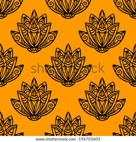 Abstract floral seamless pattern with lotus flowers in black and gold.  - stock vector