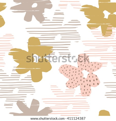 Abstract floral seamless pattern with trendy hand drawn textures. Modern abstract design for poster, cover, fabric and other users. - stock vector