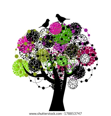 Abstract floral tree with birds. Vector - stock vector