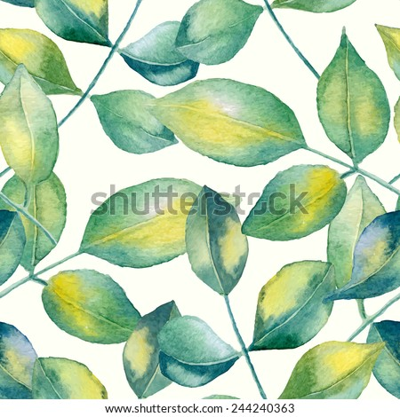 Abstract floral watercolor seamless background. Roses leaves background. Can be used for swimwear, web pages, identity style, printing, textile, cards, wrapping, invitations, etc. - stock vector