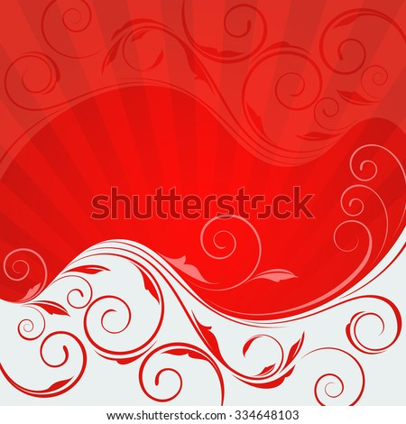 Abstract floral wave red and white vector background. - stock vector