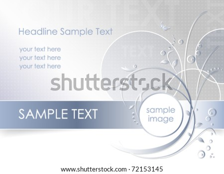 Abstract flower background - floral greeting card - white, blue and light grey color - vector, eps10 - stock vector