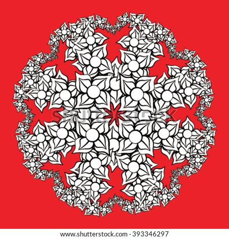 Abstract flower design in black and white isolated on red background - stock vector
