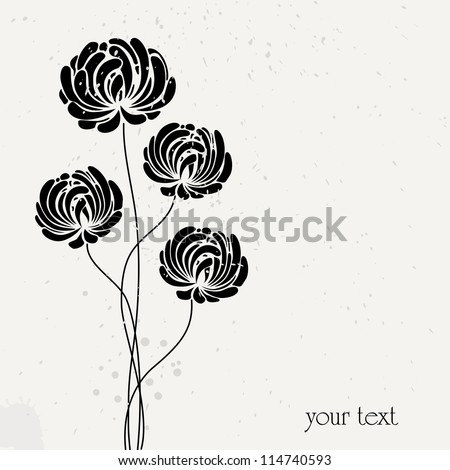 abstract flower design, vintage style, free copy space - stock vector