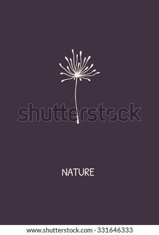 Abstract flower on purple background. Minimalist styled dandelion. Vector illustration. - stock vector