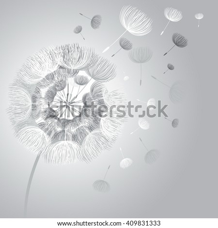 Abstract fluffy dandelion flower. Vector illustration  - stock vector