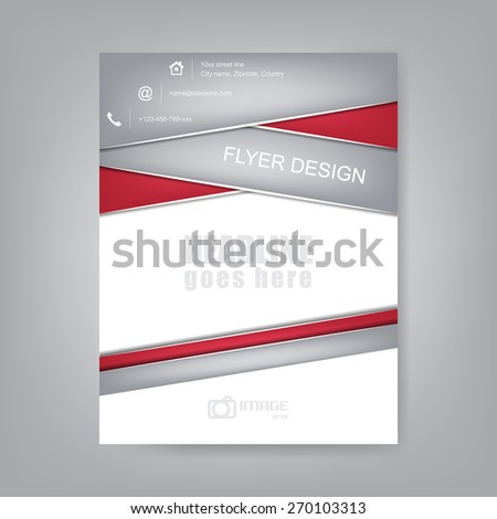 Abstract flyer or cover design, brochure template, corporate banner with contact information icons/vector illustration - stock vector