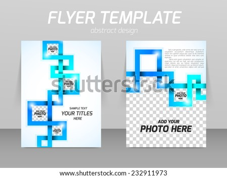 Abstract flyer template design with blue squares - stock vector