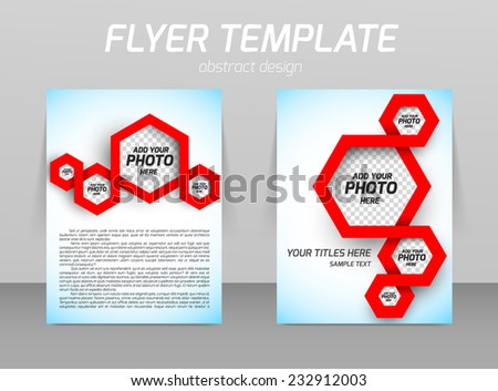 Abstract flyer template design with red hexagons spiral - stock vector