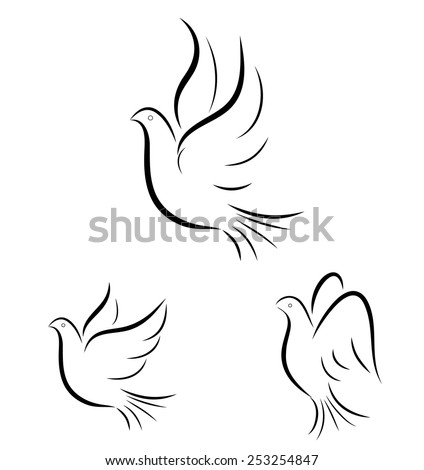 Abstract flying doves line illustration - stock vector