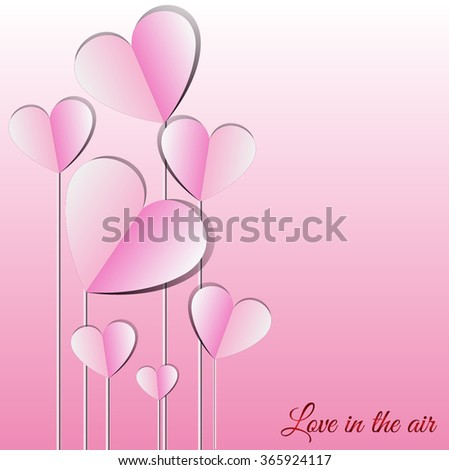Abstract flying hearts on pink background. Valentines day concept. Vector eps10 illustration - stock vector