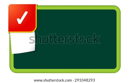 Abstract frame for your text with red corner and check box - stock vector