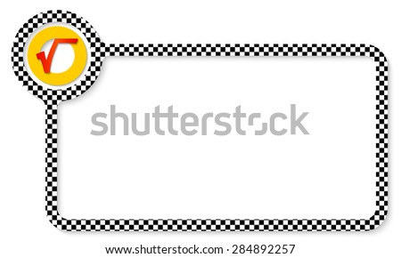 Abstract frame for your text with square pattern and radix symbol - stock vector