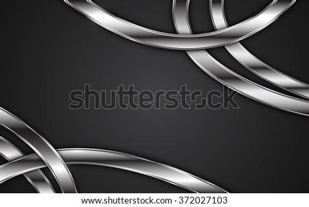 abstract frame stripe tribal metallic texture design on black background - stock vector