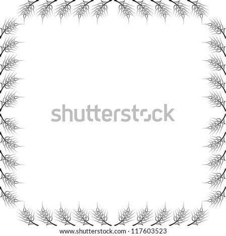 Abstract frame with wheat on white background - stock vector