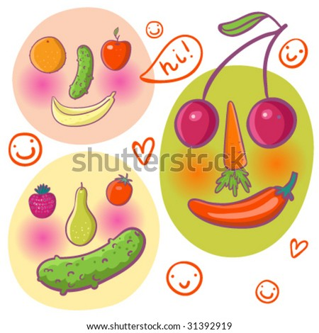 Abstract funny faces made of fruits and vegetables in vector - stock vector
