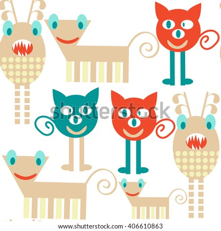 Abstract funny fantasy  monsters  seamless pattern and seamless pattern in swatch menu, vector image - stock vector