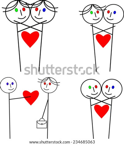 Abstract funny love of straight and gay couples or friends while hugging and kissing with red eye or eyes symbolizing a love - stock vector