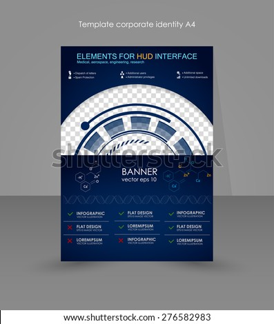 Abstract future, concept vector futuristic blue virtual graphic. HUD element. Editable A4 poster for design, education, presentation, website, magazine cover. Brochure for the network marketing - stock vector