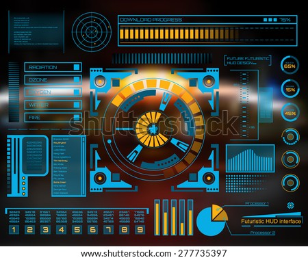 Abstract future, concept vector futuristic blue virtual graphic touch user interface HUD. For web, site, mobile applications isolated on black background, techno, online design, business, gui, ui. - stock vector