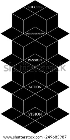 Abstract futuristic background, 3D conceptual design of success based on vision, action, passion, and determination for success, a black and white construction of success - stock vector