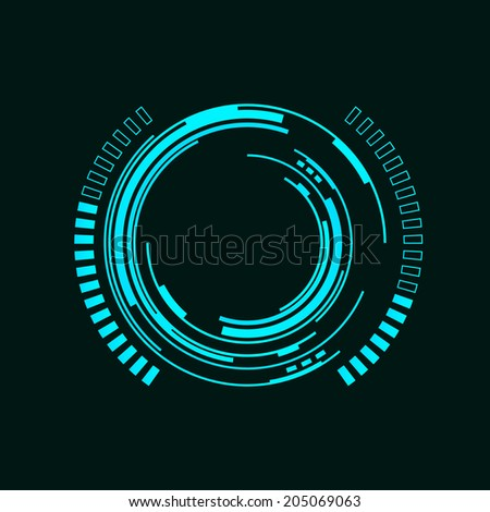 Abstract futuristic background with spaceship HUD - stock vector