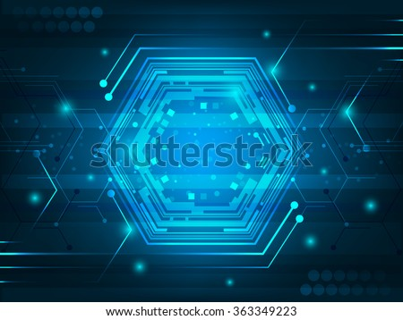 Abstract futuristic digital innovation background with circuit board, hexagon, shiny effect and glitter. Vector illustration. - stock vector