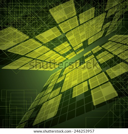 Abstract futuristic green bright background illustration  - stock vector
